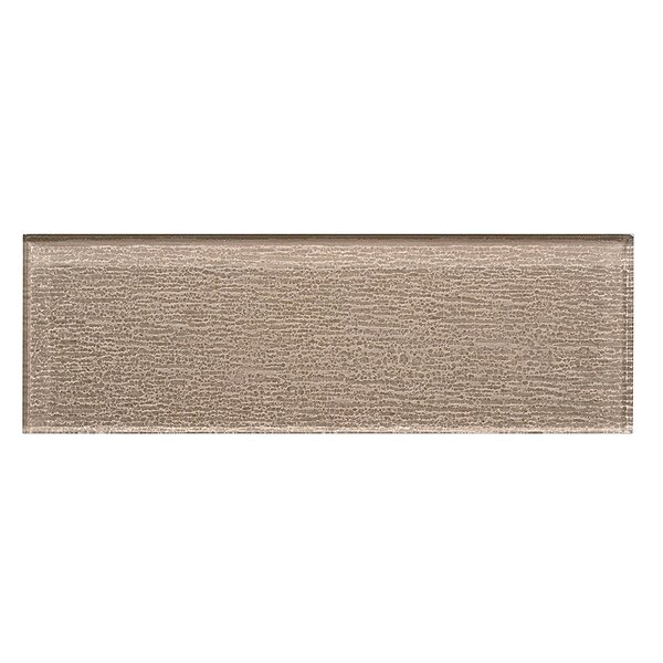 Premium Series Individual 4 x 12 Textured Glass Subway Tile in Beige by WS Tiles