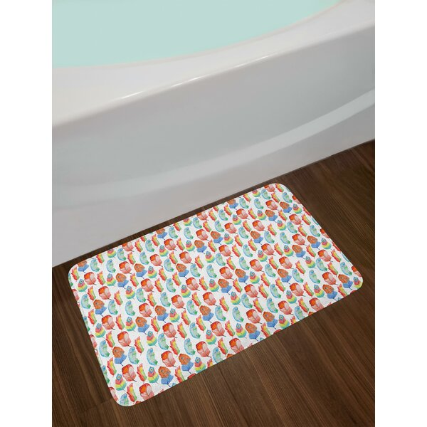 Hand Painted Feather Bath Rug by East Urban Home