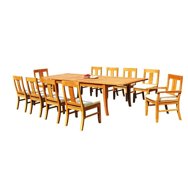 Jordy 11 Piece Teak Dining Set by Rosecliff Heights