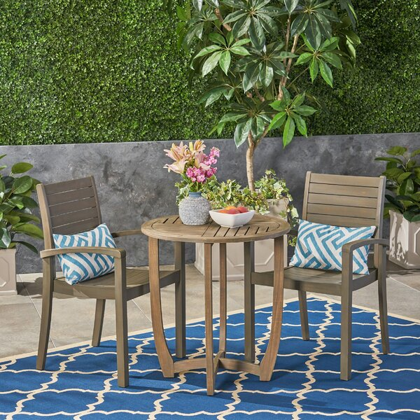 Scottsville Outdoor 3 Piece Bistro Set by Highland Dunes