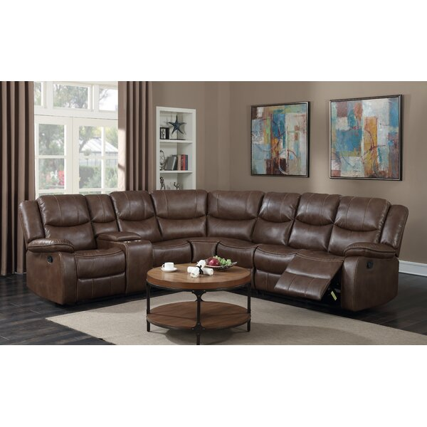 #1 Fresno Leather Reclining Sectional By Red Barrel Studio Discount