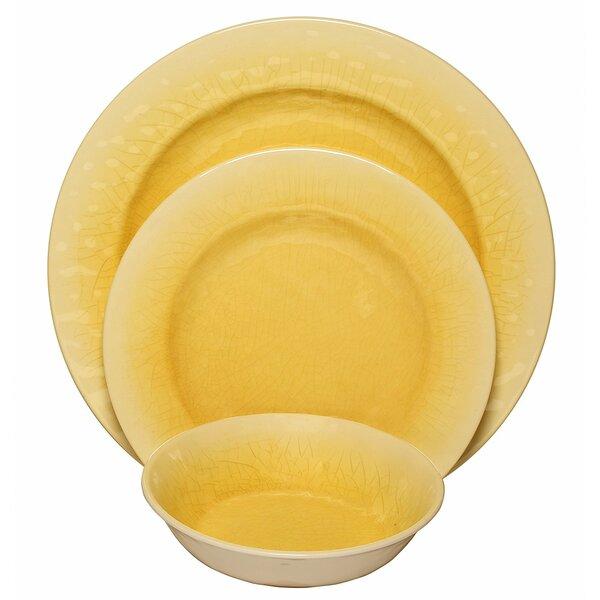 Crackle Melamine 12 Piece Dinnerware Set, Service for 4 by Happy Planter