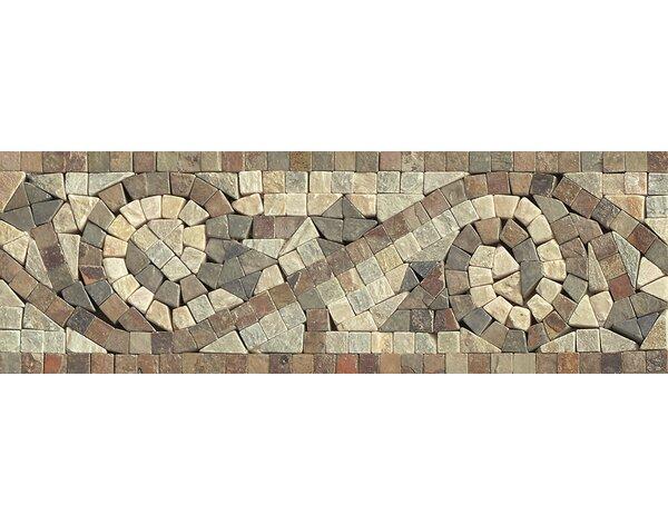 12 x 4 Stone Mosaic Liner Mystic Swirl Tile in Amb