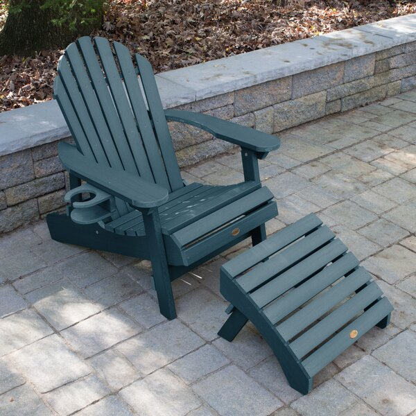 Camacho Plastic Folding Adirondack Chair with Ottoman by Longshore Tides Longshore Tides