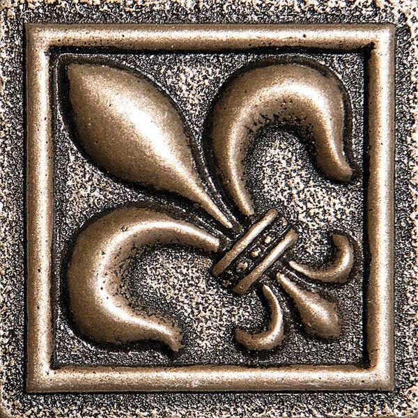 2 x 2 Fleur De Lis Deco Accent Tile in Bronze by Parvatile