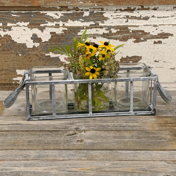 Eickhoff Square 3-Piece Glass Pot Planter in Basket with Leather Handles by August Grove