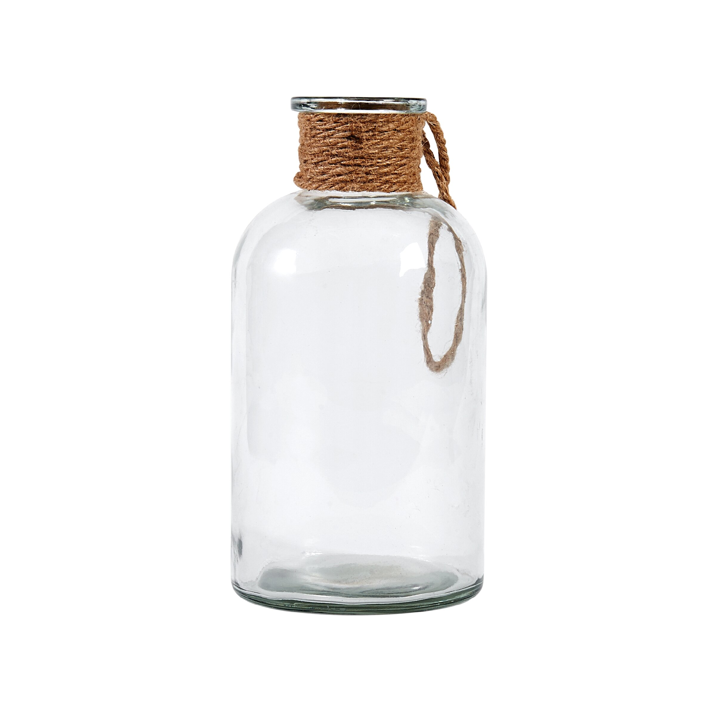 Breakwater Bay Decorative Glass Bottle with Hemp Rope Handle & Reviews |  Wayfair