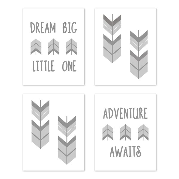 Mod Arrow 4 Piece Art Print Wall Hanging Set by Sweet Jojo Designs