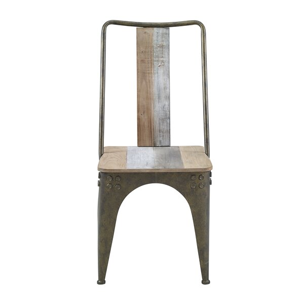 Marcum Slat Back Side Chair In Gray/White Wash/Light Gray By Longshore Tides