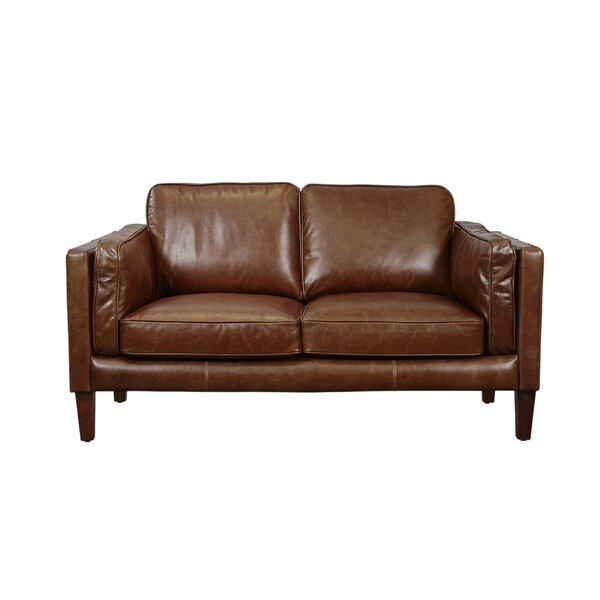Shelli Leather Loveseat by Union Rustic