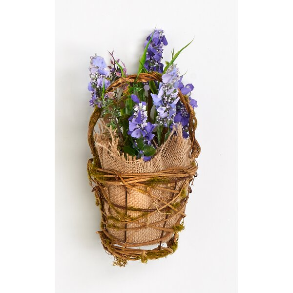 Lavender Grass Lilac Floral Arrangements in Burlap Basket by Worth Imports