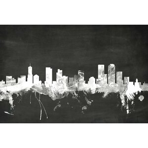 Blackboard Skyline Series: Denver, Colorado, USA Graphic Art on Wrapped Canvas by East Urban Home