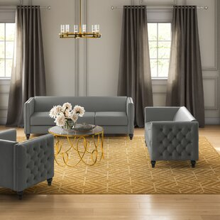 Don Modern Nail-head 3 Piece Configurable Living Room Set by House of Hampton®