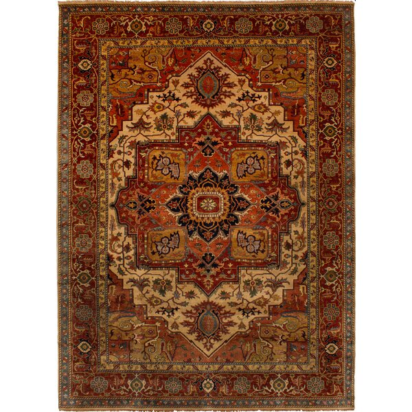 One-of-a-Kind Donoho Hand-Knotted Wool Cream/Red Area Rug by Isabelline