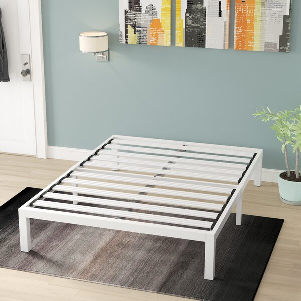 Hukill White Metal Platform Bed Frame by Latitude Run