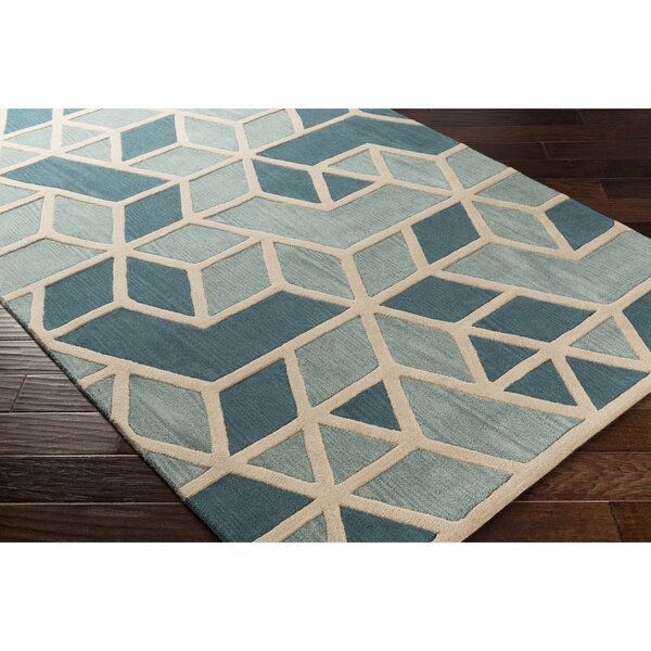 Vaughan Hand-Tufted Green/Blue Area Rug by Wrought Studio