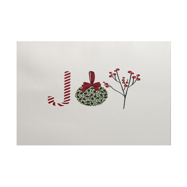 Oh Joy! Word Print Red/Green Indoor/Outdoor Area R