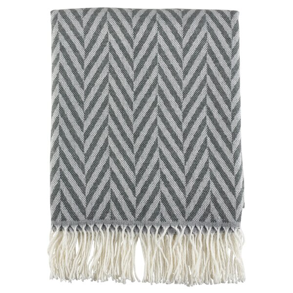 Ketner Herringbone Fringe Hem Blanket by Wrought Studio