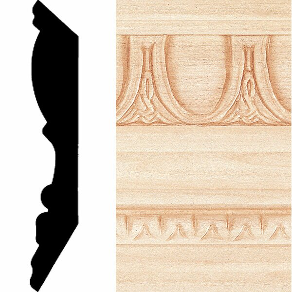 13/16 in. x 4-1/2 in. x 8 ft. Hardwood Emboss Crown Moulding by Manor House