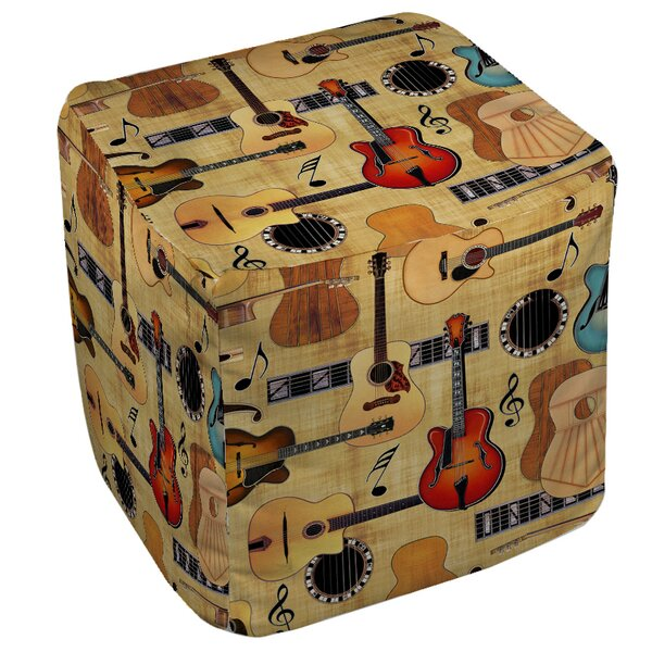 Guitar Collage Cream Pouf by Manual Woodworkers & Weavers
