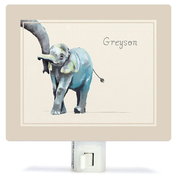 Personalized You And Me Elephant Neutral Canvas Night Light by Oopsy Daisy