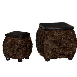Cassius Wicker 2 Piece Storage Ottoman Set