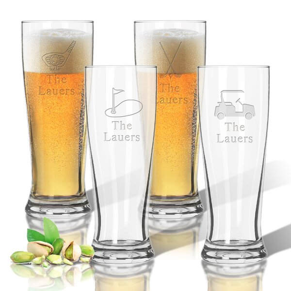 Tritan Golf 4 Piece 14 oz. Pilsner Glass Set by Carved Solutions