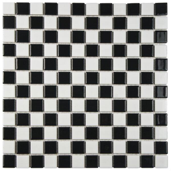 Derecha 1.25 x 1.25 Porcelain Mosaic Tile in Black/White by EliteTile