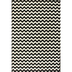 Cunningham Chevron White Black Area Rug