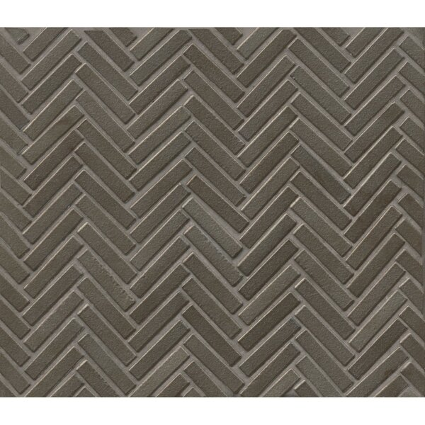 Herringbone Mosaic 11 x 12.25 Porcelain Tile in Gun Metal by Grayson Martin