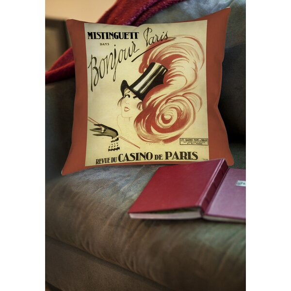 Bonjour Paris Printed Throw Pillow by Manual Woodworkers & Weavers