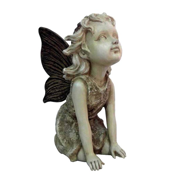 Fairy Kneeling and Looking Up Statue by Hi-Line Gift Ltd.