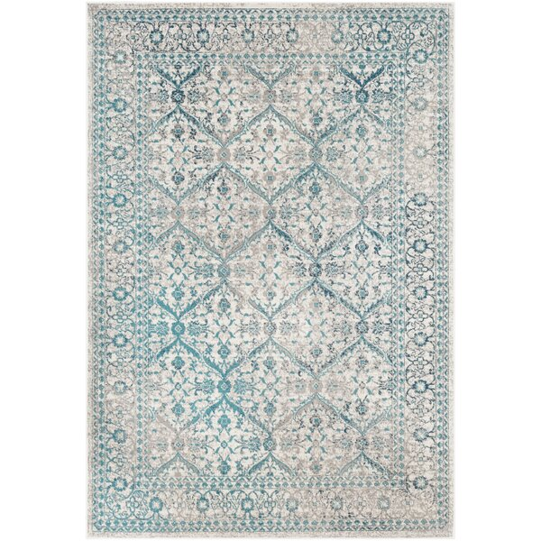 Ramm Floral Cyan/Taupe Area Rug by Bungalow Rose