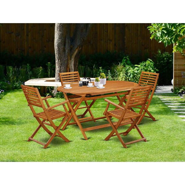 Deshaun 5 Piece Patio Dining Set by Longshore Tides