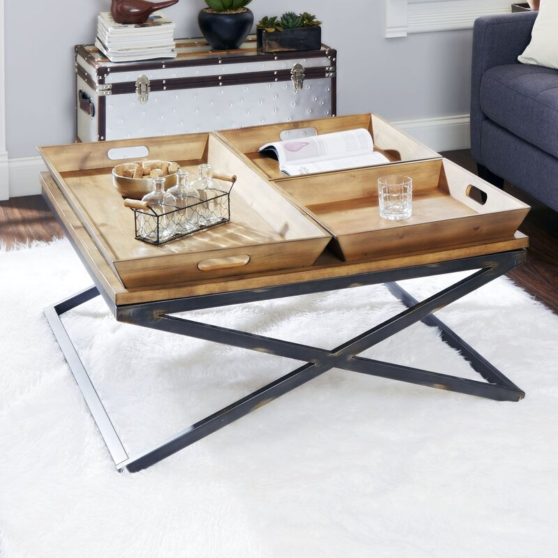 Ordinaire Alewife Industrial Coffee Table With Tray Top