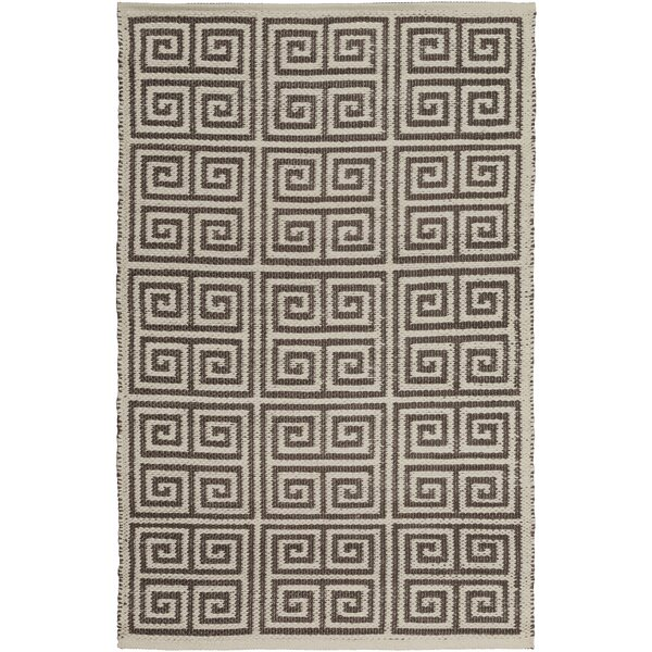 Eastbrook Hand-Woven Dark Brown/Cream Outdoor Area Rug by Charlton Home