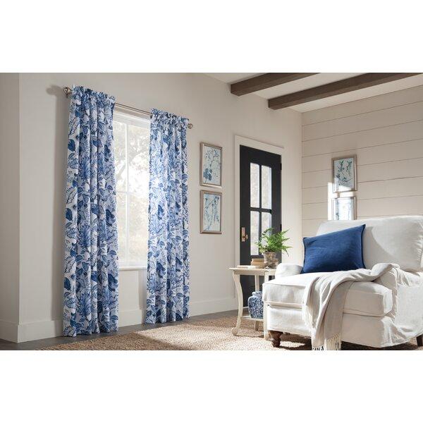 Loader Floral/Flower Room Darkening Thermal Rod Pocket Curtain Panels (Set of 2) by Red Barrel Studio