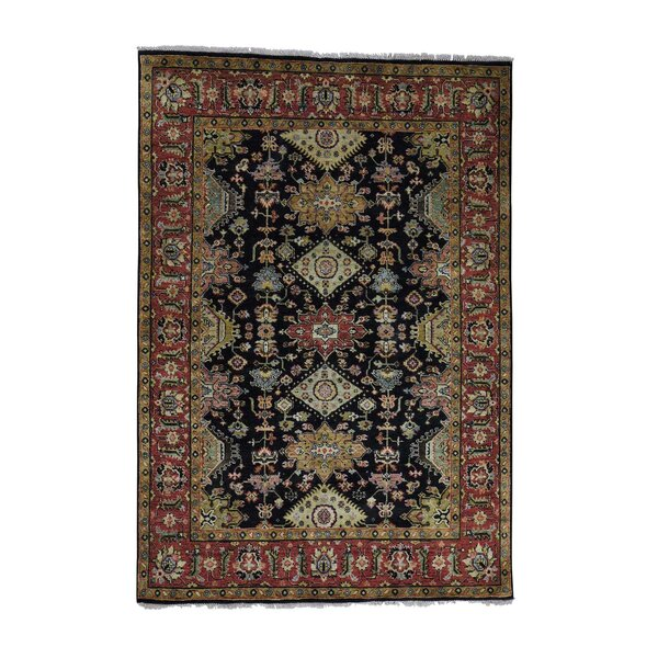 One-of-a-Kind Newhouse Oriental Hand-Knotted Black Area Rug by Astoria Grand