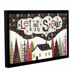 Quirky Christmas Cabin Framed Painting Print on Wrapped Canvas