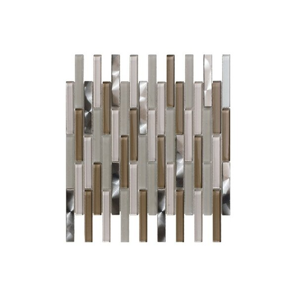 Santa 12 x 12 Glass Mosaic Tile in Gray/Brown by Kellani