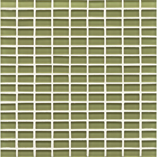 Harbor Glass Mosaic Mini Brick Gloss Tile in Moss by Grayson Martin