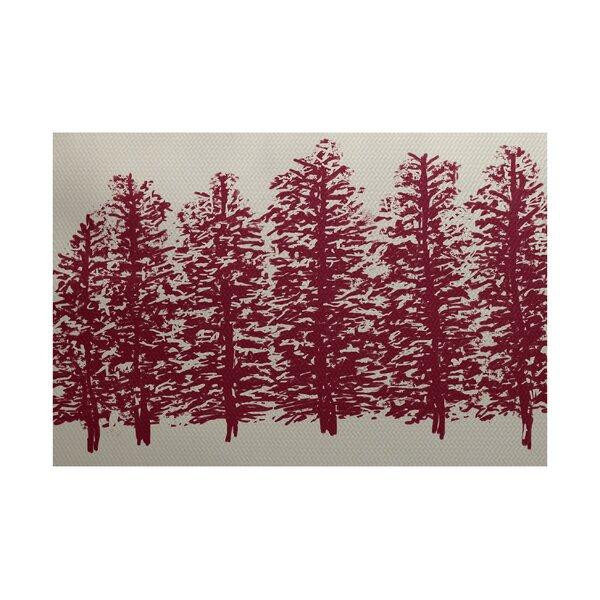 Wrights Ridge Flower Print Cranberry/Burgundy Indoor/Outdoor Area Rug by Loon Peak