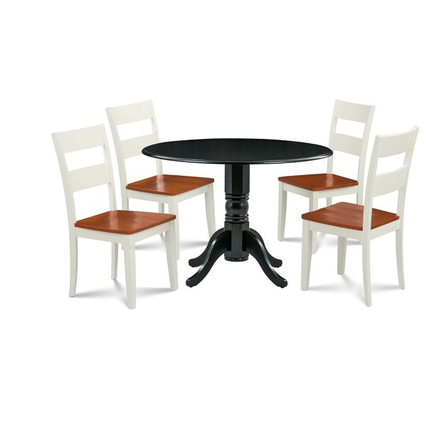 Horatio 5 Piece Drop Leaf Solid Wood Dining Set by August Grove
