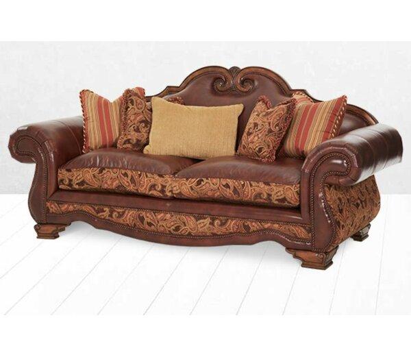 Toscano High Back Leather Sofa by Michael Amini
