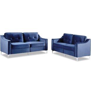 Mukai 2 Piece Velvet Living Room Set by Everly Quinn
