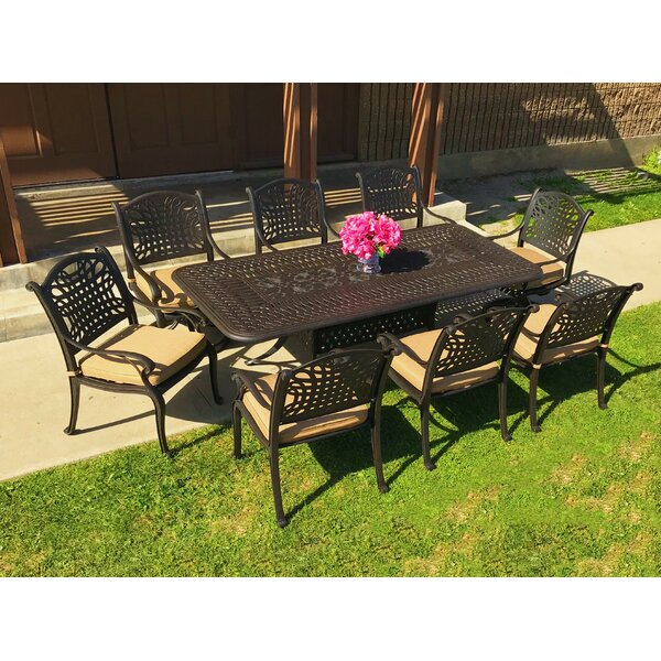 Campion 9 Piece Sunbrella Dining Set with Cushions by Fleur De Lis Living