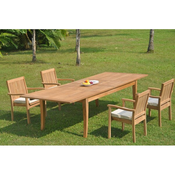 Delancey 5 Piece Teak Dining Set by Rosecliff Heights
