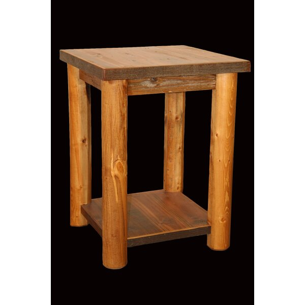 Barnwood Nightstand with Shelf and Round Legs by Utah Mountain