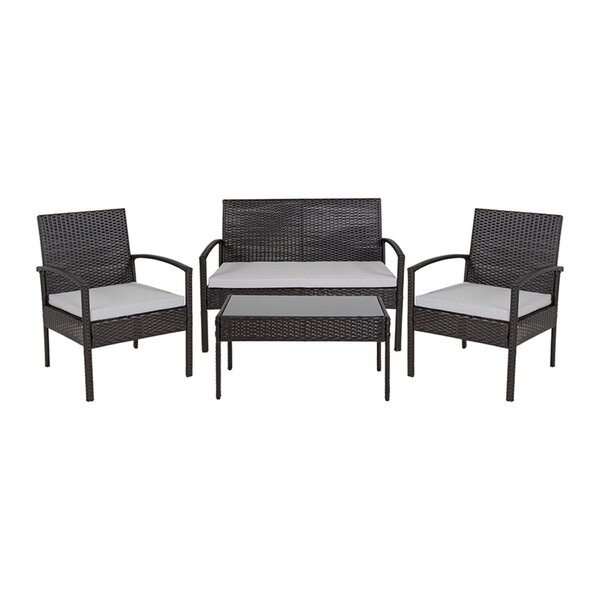 Wang 4 Piece Rattan Sofa Seating Group with Cushions by Charlton Home