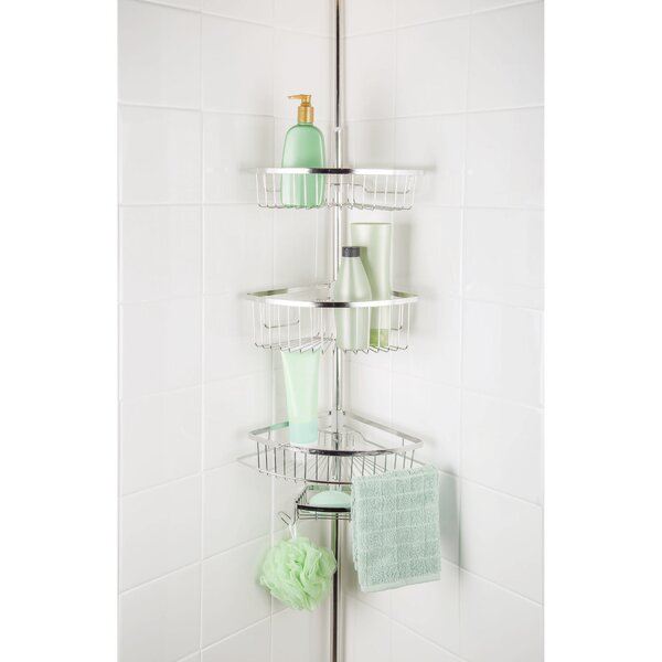 Maya 3 Tier Corner Tension Pole Shower Caddy with Soap Dish by Rebrilliant